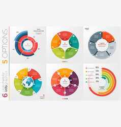 Collection of 6 circle chart templates for vector