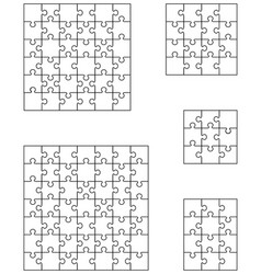 Five white puzzles vector