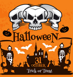 halloween holiday poster with haunted house skull vector image