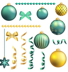 Christmas decorative ball and ribbon set vector