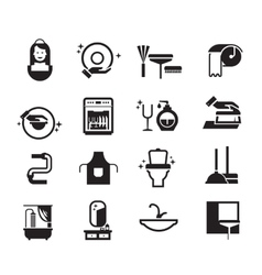 Black cleaning icons set on white background vector