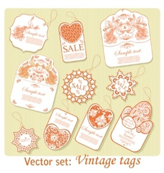 Set of ten vintage tags vector