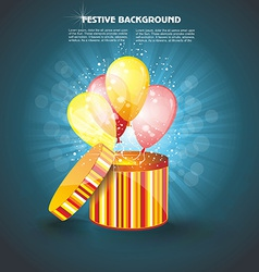 Open gift box with ballons vector