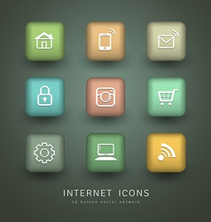Buttons internet icons for social network vector