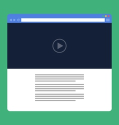Flat browser window with video online vector