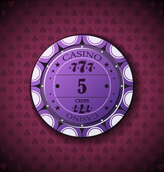 Poker chip nominal five on card symbol background vector