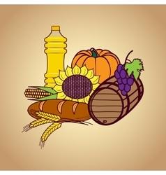 Autumn harvest food set vector image