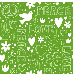 Hand-drawn seamless pattern with symbols of peace vector