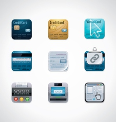 Credit card square icon set vector