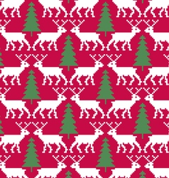 Reindeer and trees seamless pattern vector