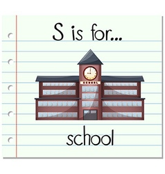 Flashcard letter s is for school vector