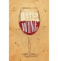 Poster drink wine kraft vector image