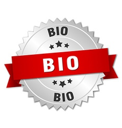 Bio 3d silver badge with red ribbon vector