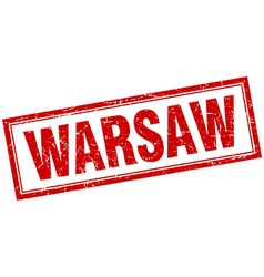 Warsaw red square grunge stamp on white vector image