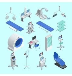 Medical Equipment Isometric Icons Set vector image