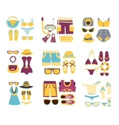 Beach outfit combinations of clothing and vector