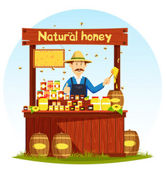 Agronom selling honey at market stall or showcase vector