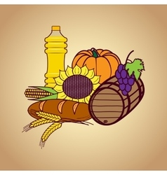 Autumn harvest food set vector image