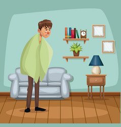 Background living room home with fever sickness vector