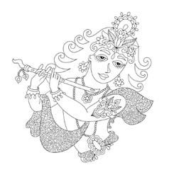 Black and white god lord krishna for janmashtami vector