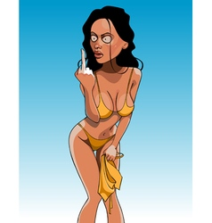 Cartoon funny woman in a bathing suit showing vector