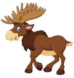 Cartoon happy moose with big horns vector