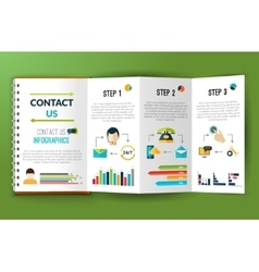 Contact us infographics note folder vector