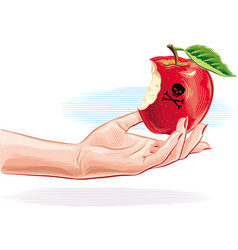 Female hand with poisoned apple just bitten vector