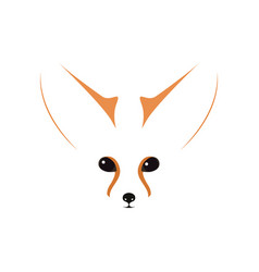 fennec muzzle eyes and ears contour vector image