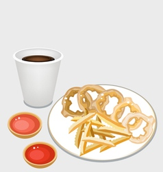 French fries and onion ring with disposable coffee vector