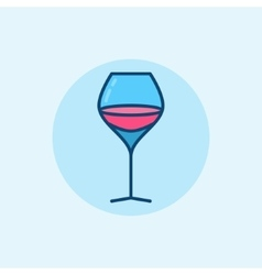 Glass of wine flat icon vector