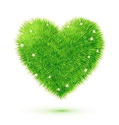 Green fluffy grass eco heart vector
