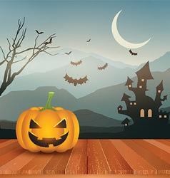 Halloween pumpkin against spooky landscape 0109 vector