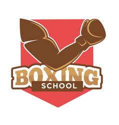 Hand on boxing school sign vector