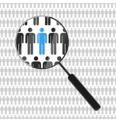 HR looking for a employee with magnifying glass vector image