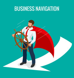 Isometric business navigation concept businessman vector