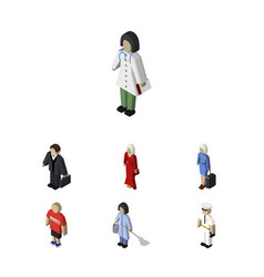 Isometric people set of hostess housemaid female vector