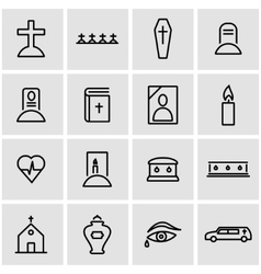 line funeral icon set vector image