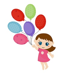 Little girl running with balloons vector