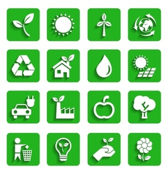 Modern Ecology Icons with Shadow vector image vector image