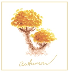 Orange autumn tree with many leaves watercolor vector
