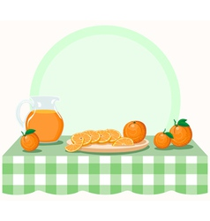Oranges on checkered tablecloth vector image vector image