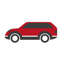 Red colored crossover car vector