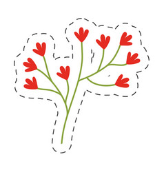 red flower ornate image cut line vector image