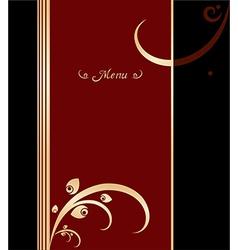 Red gold and black vintage menu cover design vector