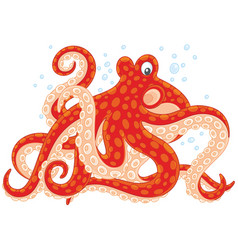 Red spotted octopus vector