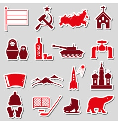 Russia country theme symbols stickers set eps10 vector