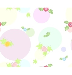 Seamless flower and round pattern on white vector image