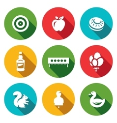 Set of target icons archery apple plate vector