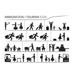 The set icons of immigration and tourism vector image
